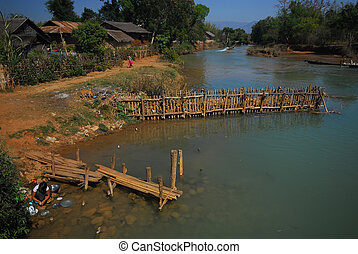 Canal  near  Inle lake at Shan state in Myanmar.