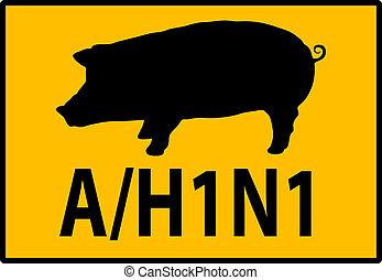 h1n1, gripe, Ilustración, señal, advertencia, cerdos,...