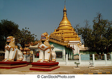 Golden stupa in temple at countryside of  Myanmar.
