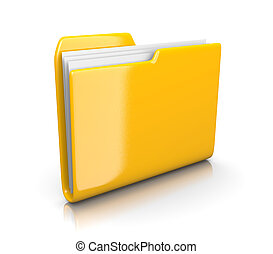 Yellow Document Folder - Single Yellow Document Folder on...