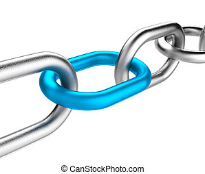Blue Chain Link - Metal Chain with One Single Blue Link on...