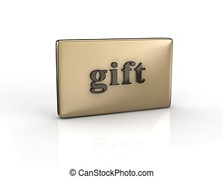 3D text gift on reflective rectangle digitally generated...
