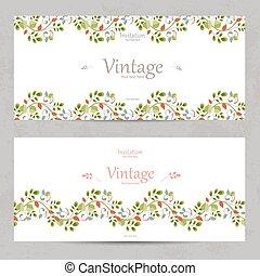 vintage floral invitation cards for your design