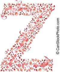 Romantic floral letter Z