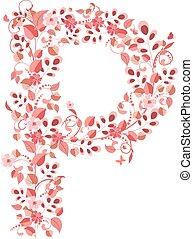 Romantic floral letter P
