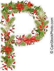 christmas floral tree letter P