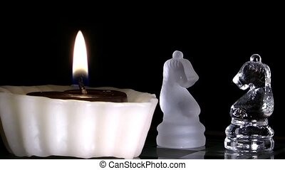 Candle and Chess Made by Glass