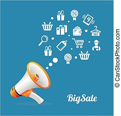 Vector Megaphone and icon Big sale concept - Vector...