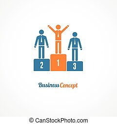 Business Winners Podium Symbol Vector Illustration - Winners...