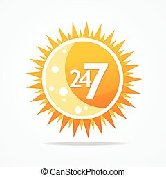 Sun vector icon. 24 hours and 7 days open sign. - 24 hours...
