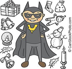 Vector children - Vector boy dressed as super hero for...