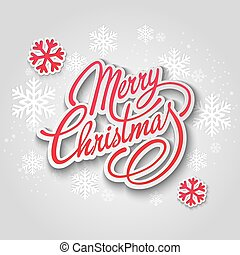 Merry Christmas greeting card Lettering Paper design - Merry...