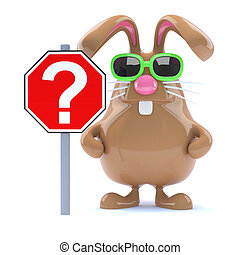 3d Chocolate Easter bunny rabbit with question mark sign -...