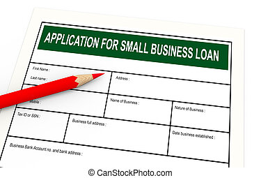 3d business loan application - 3d illustration of red pencil...