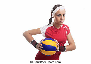 Strong Willed Caucasian Professional Female Volleyball...