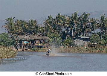 village in Inle lake at Shan state in Myanmar.