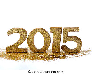 2015 figures - new year - 2015 figures on gold glitter and...