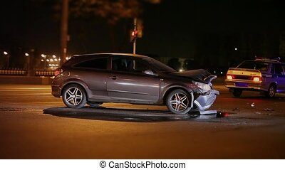 Crash at night road - head-on collision on the night road
