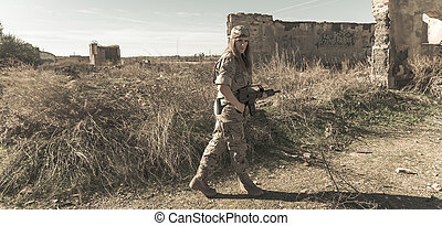 Military girl - Spanish military girl with his machine gun