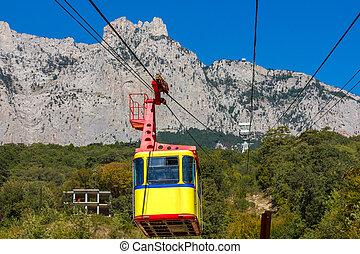 Ropeway to Ai-Petri in Crimea mountains, Ukraine