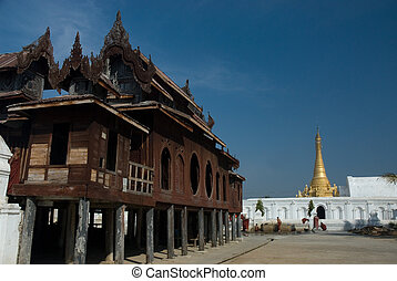 NYan Shwe-Kgua is wooden temple. - Young Monk in Nyang Shwe...