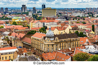 Aerial view of Zagreb city center in Croatia
