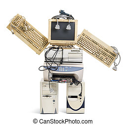 old robot - stack of old computer equipment transformed into...