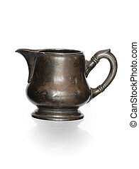 Ancient Milk Jug - Ancient bronze milk jug isolated on white...