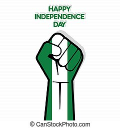Independence Day of Nigeria - Flag of Nigeria in hand ,...
