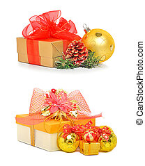 Gift box with red mesh bow and christmas baubles isolated on...