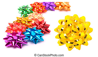 Many colored bright bows isolated on white. Collage