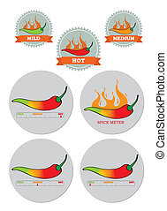 Chili Spice meter sticker seal set - Chili spice meter info...