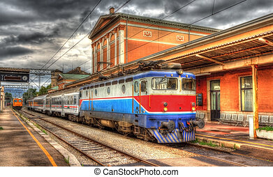 Croatian passenger train in Rijeka station