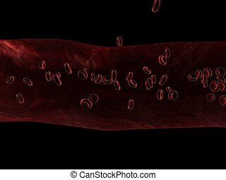 streaming blood cells - 3d rendered illustration of an...