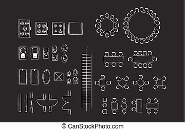 Architecture Icons For Plan Design On Blackboard