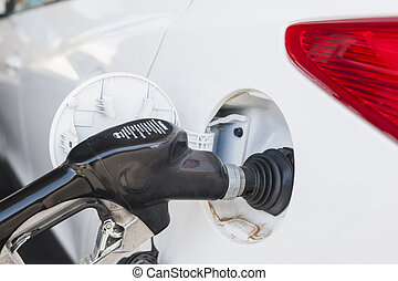 Refilling Car Tank at Fuel Station Horizontal Image...