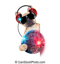 dj disco dog - dj bulldog dog with headphones listening to...