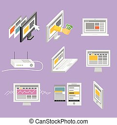 Modern gadgets and web page templates collection