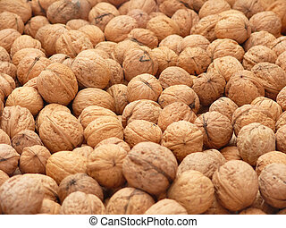 Walnuts - Closeup of English walnuts - background