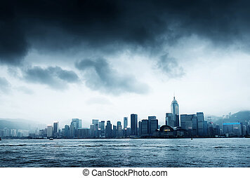 hong kong - Storm in the Victoria Harbor in Hong Kong
