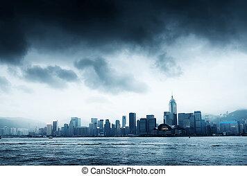 hong kong - Storm in the Victoria Harbor in Hong Kong