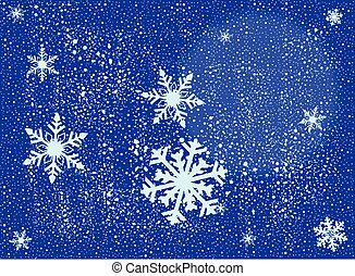 Snowing - A wintery style background with snowflakes over a...