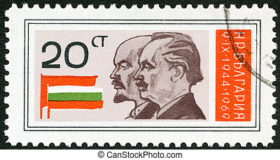 BULGARIA - 1969: shows Lenin, Dimitrov, Russian and...