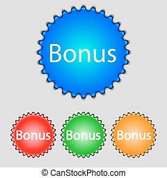 Bonus sign icon. Special offer label. Set of colored buttons. Vector