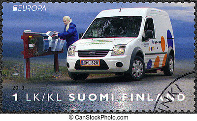 FINLAND - 2013: shows Postal Vehicle - FINLAND - CIRCA 2013:...