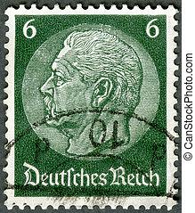 GERMANY - 1933: shows President Paul von Hindenburg...