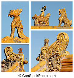 collage made of images with imperial roof decorations, Beijing,