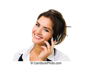 Smiling woman speak on cell phone - Young woman with big...
