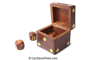 Dice wooden set on white background