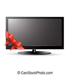 LCD TV with red bow